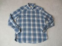 Lucky Brand Pearl Snap Shirt Adult Large Blue Gray Long Sleeve Western Mens