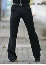 mens slim bell-bottoms suit pants western style loose tango trousers size 27-36