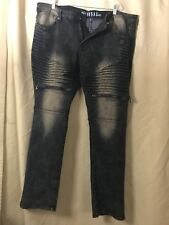 Fusai Distressed Wash Slim Stretch Biker Jeans Pants 41x31.5 Zippers On Thighs