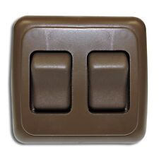 Double 2 Gang On-Off 12V  Brown Light Switch -RV Camper Trailer Marine Boat 12 V