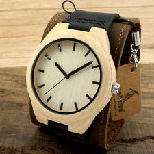 Hot Bobo Bird Pine Wooden Watch Wide Leather Straps Quartz Watches for Men Women