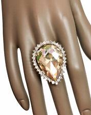 Fake Topaz Rhinestones Adjustable Statement Cocktail Ring Drag Queen Pageant