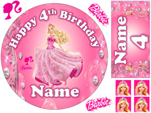 """BARBIE INSPIRED 6"""" / A3 PERSONALISED EDIBLE ICING CAKE TOPPER"""