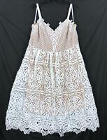 City Chic size M/18 dress Ivory Fancy Free lace sleeveless NEW