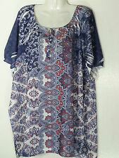 CATHERINES PULLOVER  EMBELLISHED TOP 3X 26-28 PLUS SIZE SHORT SLEEVE BLOUSE NWT