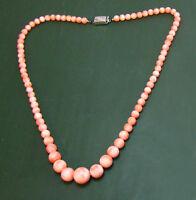 Beste alte Engelshaut-KORALLENKETTE rosa Koralle • 46 cm Engelshautkoralle