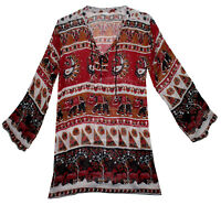 Indian Cotton Shirt Free Size Ladies Top Long Sleeve Loose Fit Women Tops Blouse