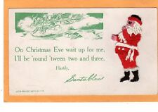 Christmas Postcard - Embroidered Attached Santa Claus