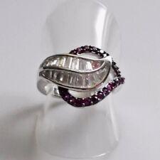 Rubin Baguette Weißtopas Blatt Design Ring 925er Sterlingsilber 54 (17,2 mm Ø)