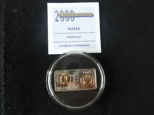 2000 SILVER PROOF MALTA LM5 RECTANGLE SHAPE COIN + COA MILLENNIUM ROYAL MINT