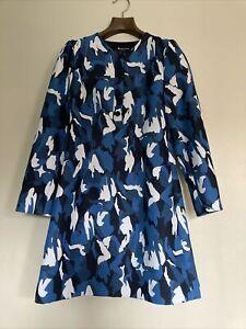 Aquascutum  Blue & White Jacquard Dress Size 6 Rrp £400 New with Tags **RARE**