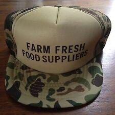 VIntage FARM FRESH FOOD SUPPLIERS Mesh CAMO Camoflauge Snapback Trucker Hat