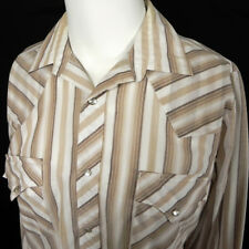 Vintage Miller Western Wear Shirt 15 1/2 x 34 Pearl Snap Yokes Striped Pockets
