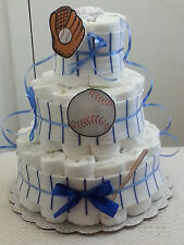 3 Tier Diaper Cake Blue & White Pinstripe Baseball Baby Shower Gift Centerpiece