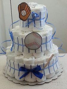 3 Tier Diaper Cake Blue & White Pinstripe Baseball Baby Shower Gift Centerpiece