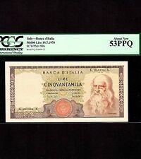 Italy, 50,000 Lire 1970, P-99b, PCGS AU 53 PPQ * Leonardo da Vinci *