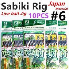 10 X Sabiki (Japan), Size #6, Live Bait Jigs, Yellow Tail, Fishing Rig, #white10