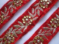 Borte Nichtelastisch Silber Rot Elegante 2.8cm Breit # BB 683 s