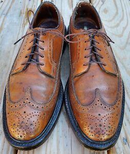 Vintage Florsheim Imperial 93802 Mens Brown V-Cleat Wingtip Dress Oxfords 8 C