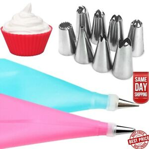 Silicone Icing Piping Cream Pastry Cake With Steel Nozzles 10 Piece Set Bake