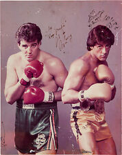 Sylvester Stallone (Rocky) Gerry Cooney Signed Color Photograph 1982 COA CREED
