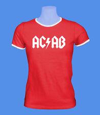 Girlie Damen T-Shirt AC/AB Polizei Streetfight Hool rot weiß S M L Bündchen