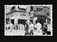1940s KING'S SILK STORE STREET WOMEN RICKSHAW SIGN Vintage Hong Kong Photo #1046