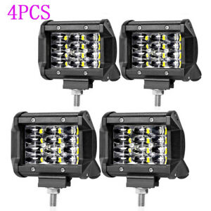 4X 4Inch 400W Cube LED Work Light Combo Light Driving for Truck Tractor ATV SUV