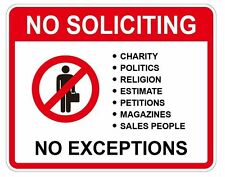 2pcs No Soliciting No Exceptions Front Door Home Security Sign waterproof
