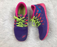 Nike Free 5.0 Running Shoes Youth Size 7Y/8.5 Womens Pink/Purple Sneakers