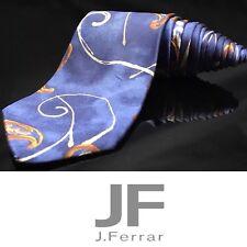 J. Ferrar 100% Silk Gold Leaf 🍃 Blue Stripe Tie
