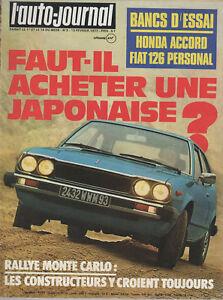L'AUTO JOURNAL 1977 3 RALLYE MONTE CARLO HONDA ACCORD GP BRESIL DATSUN VIOLET