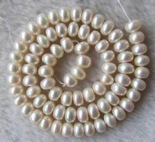 "Aaa 6-8mm perle d'eau douce blanc perles Cocarde 15 """
