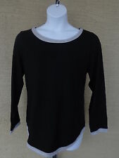 NEW Just  My Size 3X L/S scoop neck Twofer Tee Top black/gray