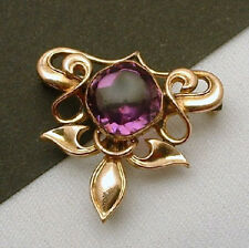 Victorian Amethyst Watch Gold Filled Vintage Pin Brooch