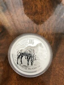 Silver Bullion Coin 1 X Perth Mint Year Of The Horse 2011 In Capsule 1 Oz RARE