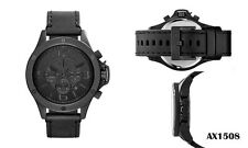 Armani Exchange AX1508 Men's Black Dial Black Leather Band Chronograph Watch