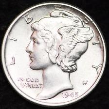 1945-D AU MERCURY DIME / DENVER MINT ALMOST UNCIRCULATED 90% SILVER COIN