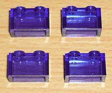 Lego 4 Steine 1 x 2 in transparent dunkel lila
