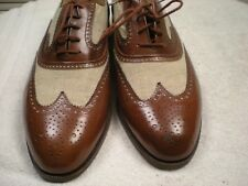 PAUL STUART Brown Leather & Tan Canvas SPECTATOR Wingtip Made Italy Sz 12 D
