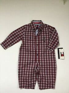 NWT Old Stock 2002 Tommy Hilfiger Coveralls Plaid 3-6M Baby Boy