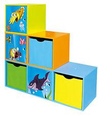 Kids Modular Bookcase Toy Storage Unit 6 Cubes Under The Sea Children Furniture