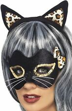 Smiffys minuit kitty masque yeux oreilles or imprimé léopard accessoire robe fantaisie