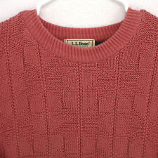 LL BEAN Vtg 90s USA PINK KNIT CREW NECK L/S PULLOVER SWEATER MEN'S L LARGE