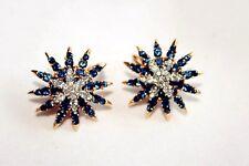 Boucles d`Oreilles Clips Pinces Puces Doré Rond Etoile Bleu Mariage Retro J6