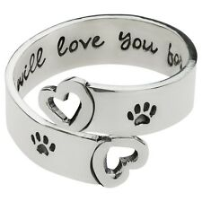 FAR FETCHED I Will Love You Forever Paw Print RING 925 Sterling Silver DOG CAT