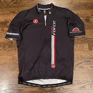 Castelli Sram Short Sleeve Full Zip Cycling Jersey Men's Size Large Black