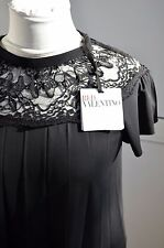 NWT Red Valentino Cute Top Bow Lace Dress Blouse S M T-shirt  Black Viscose