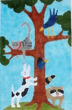 Cat Up a Tree Hand Painted Needlepoint Canvas