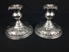 Wallace Grande Baroque TWO (2) Weighted Sterling Silver Candlesticks 4850-9